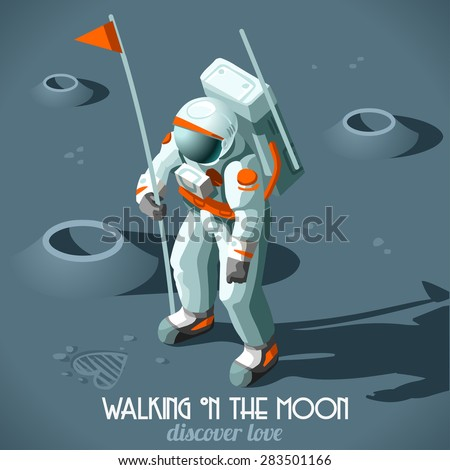 Astronaut Hitchhiker Guide the Galaxy Vector Illustration Flat 3d Isometric Cosmonaut with Flag who Discovers the Moon Love Icon.New Horizons of the Universe. Discovery Planet Around the Solar System - stock vector