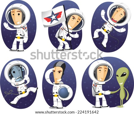 cartoon astronaut in outer space - photo #16