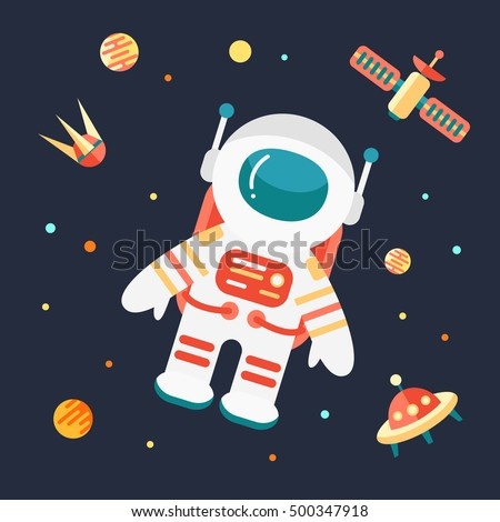 Astronaut outer space flat style vector 500347918 astronaut in outer space flat style vector illustration voltagebd Image collections