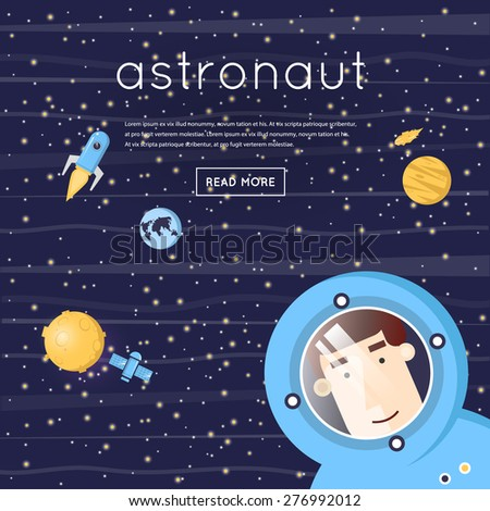 Astronaut in space. Moon, moon-walker, satellite, rocket, planet, asteroid. Flat design vector illustration. - stock vector