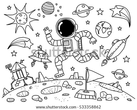 astronaut in the space doodle