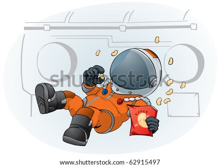 astronaut in the space ship - stock vector