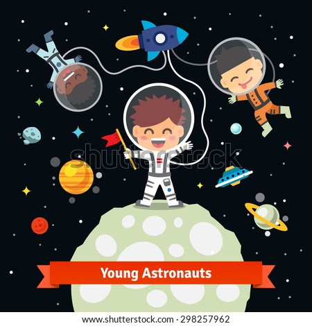Astronaut kids on an space international expedition. Landing on the alien earth or moon from a rocket ship. Flat vector illustration isolated on black background. - stock vector