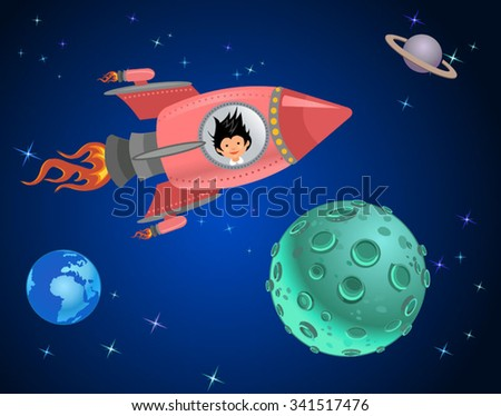Astronaut kids on the rocket in space expedition.