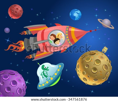 Astronaut kids on the rocket in space expedition. - stock vector
