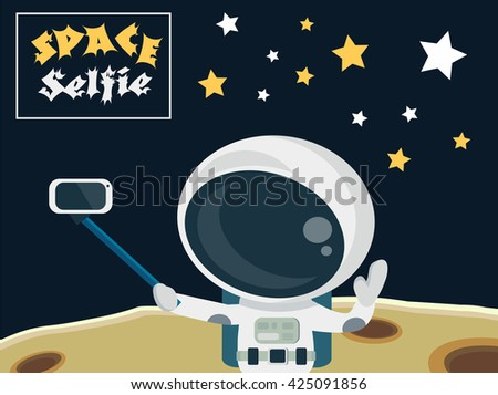 Astronaut making a selfie on the moon surface background concept - stock vector