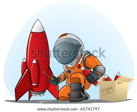 astronaut mending the rocket - stock vector