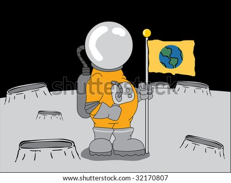 astronaut on the moon - stock vector
