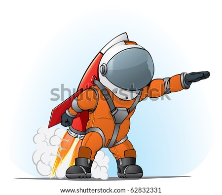 astronaut on the rocket - stock vector