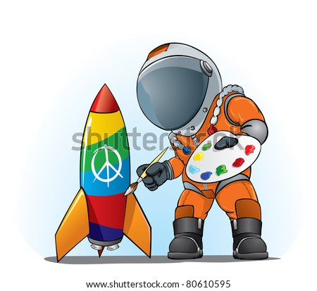 astronaut painting peace sign on the rocket - stock vector