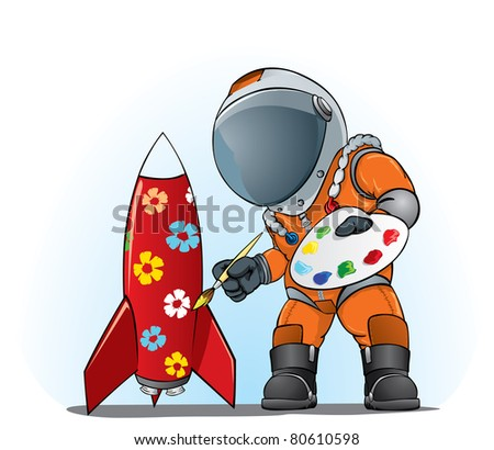 astronaut painting the rocket - stock vector