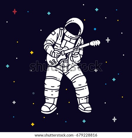 astronaut playing guitar in space - photo #19