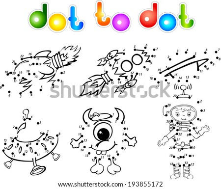 Astronaut, rockets, alien and planet. Dot to dot - stock vector