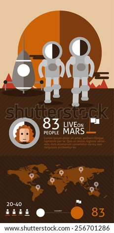 Astronaut spaceman planet Mars surface space. flat design info graphic. vector illustration  - stock vector