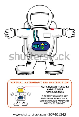 Astronaut Suit Cut Out Activity for Kids for Birthdays or Educational Games. Editable Clip Art.