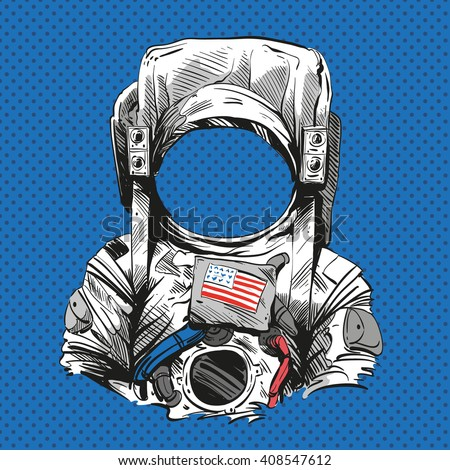 Astronaut suit. Hand drawn vector illustration
