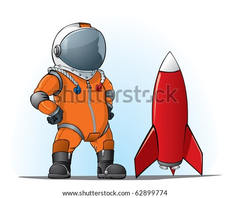 astronaut whith a rocket - stock vector