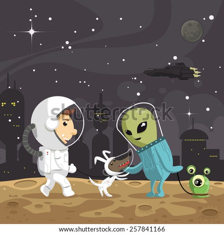 Astronaut with a dog encounters an alien - stock vector