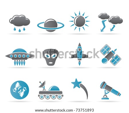 Astronautics and Space and univerce Icons - Vector Icon Set - stock vector