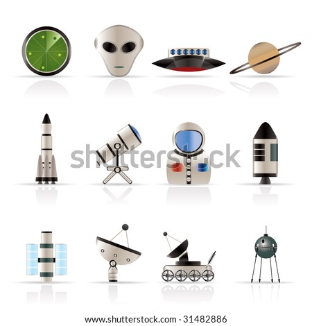 Astronautics and Space Icons - Vector Icon Set 2 - stock vector