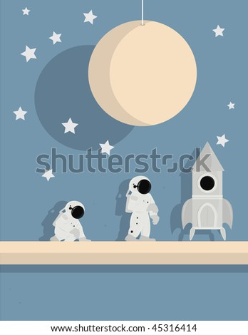 Astronauts and ship on star background - vector version - stock vector