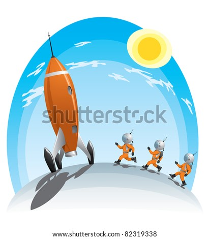 astronauts running towards the rocket - stock vector