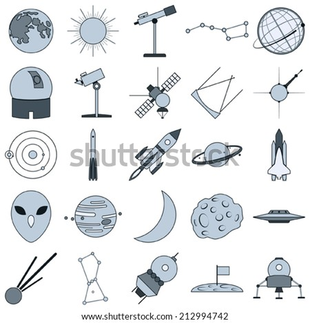 Astronomy and space vector icons - stock vector