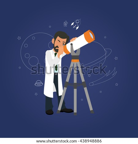 Astronomy concept. scientist looking through a telescope at the stars. astronomer studying the stars in the telescope. vector. modern telescope for observing the stars. Astronomy concept. astronomy  - stock vector