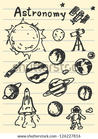 astronomy concept sketching on paper
