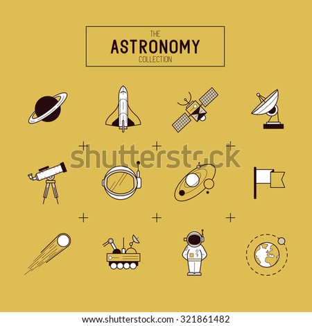 Astronomy Gold Vector Icon Set. A collection of space themed line icons including a planet, rocket, spaceman and solar system. Layered Vector illustration. - stock vector