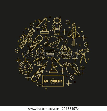 Astronomy Gold Vector Icon Set. A collection of space themed line icons including a planet, rocket, spaceman and solar system. Vector illustration. - stock vector