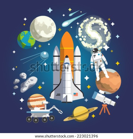Astronomy icon set. Vector design illustration concept. Art composition. - stock vector