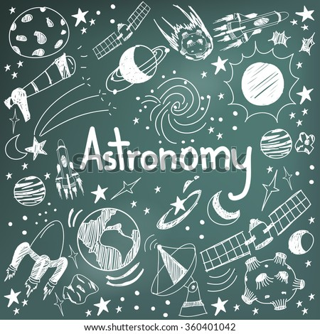Astronomy science theory and drawing doodle handwriting icon of star planet and space transportation in blackboard background used for school education and document decoration, create by vector