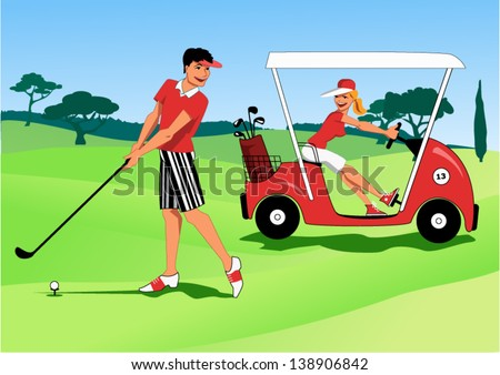 At a golf course young man hitting a ball with a club and a woman driving by in a golf cart, vector illustration - stock vector