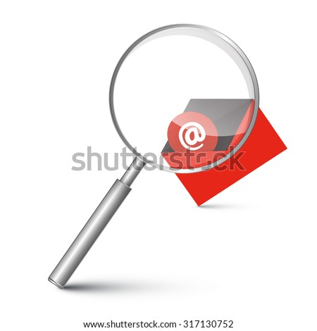 At Sign in Red Envelope - Email Icon with Magnifying Glass Vector Illustration - stock vector