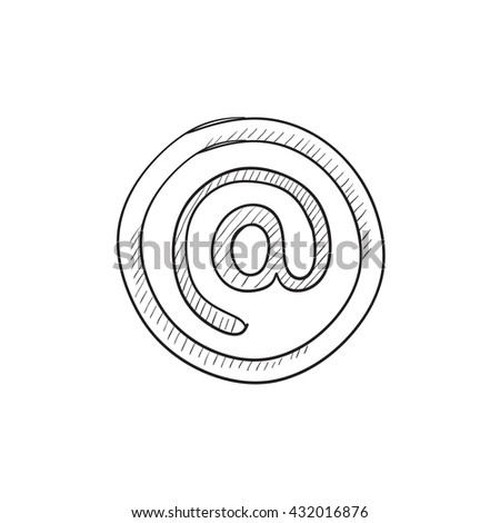 At sign vector sketch icon isolated on background. Hand drawn At sign icon. At sign sketch icon for infographic, website or app. - stock vector