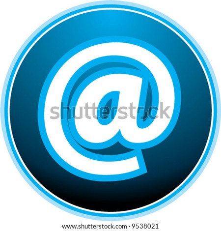 at symbol: sexy blue light vector button - stock vector