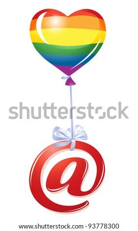 At-symbol with rainbow heart balloon - stock vector