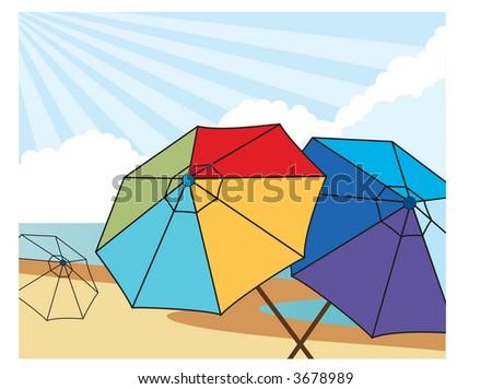 at the beach series vector colorful umbrellas on beach - stock vector