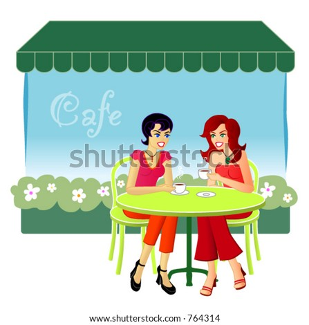 At The Cafe - A vector illustration of two female friends catching up over drinks at a cafe. - stock vector