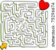 At the end of the maze is love, vector - stock photo