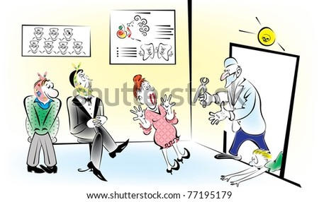 At the entrance to the office of a dentist - stock vector