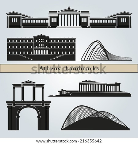 Athens landmarks and monuments isolated on blue background in editable vector file - stock vector