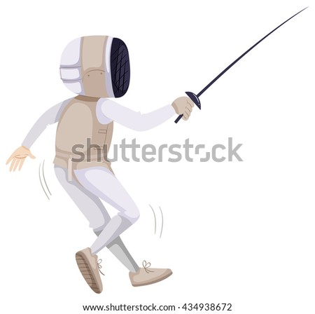 Athlete in fencing outfit with sword illustration