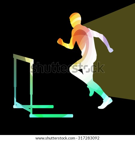 Athlete jumping hurdle, man silhouette, illustration, vector background, colorful concept made of transparent curved shapes