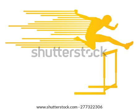 Athlete man hurdling in track and field vector background concept made of stripes - stock vector