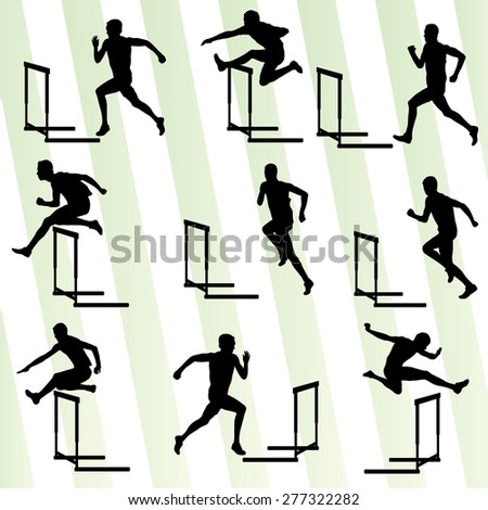 Athlete man hurdling in track and field vector background set concept - stock vector