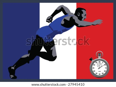 Athlete Sprinter French - stock vector