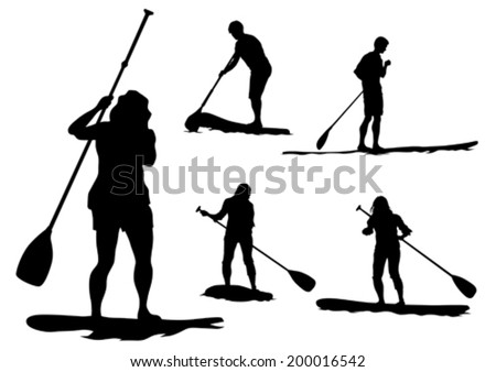 Athletes on a surfboard with a paddle on white background - stock vector