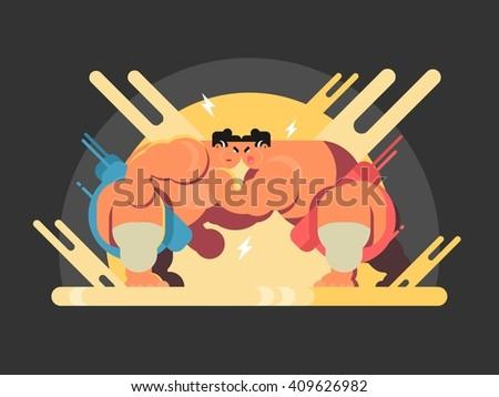 Athletes sumo fight - stock vector